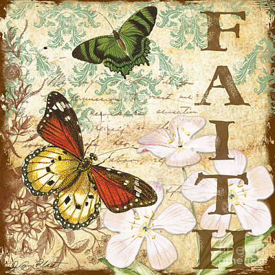 Faith And Butterflies Poster by Jean Plout