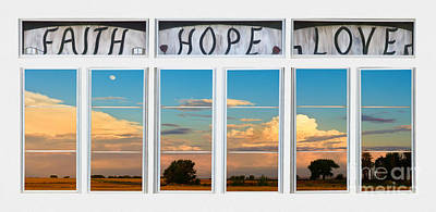 Faith  Hope Love Nature Window View Poster