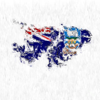 Falkland Islands Painted Flag Map Poster