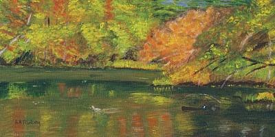 Poster featuring the painting Fall At Dorrs Pond by Linda Feinberg
