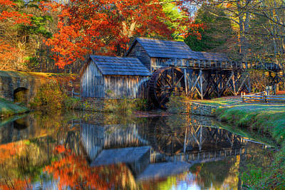 Fall At Mabry Mill Poster by David Cote