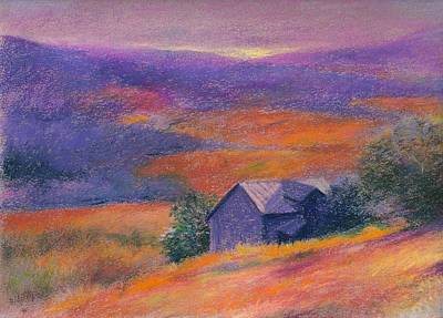 Poster featuring the painting Fall Barn Pastel Landscape by Judith Cheng