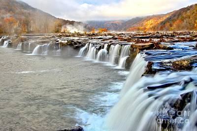 Fall Colors Over Sandstone Falls Poster by Adam Jewell