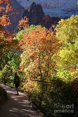 Poster featuring the photograph Fall Hiking At Zion National Park by Mary Lou Chmura