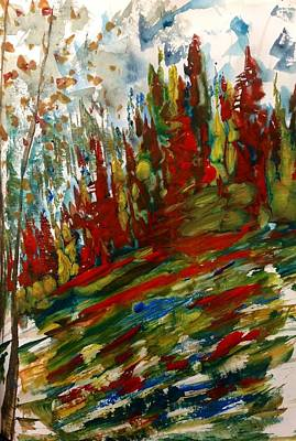 Fall Hillside In Abstract Poster