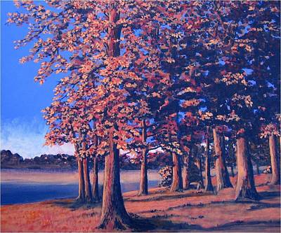 Poster featuring the painting Fall In East Texas by Suzanne Theis