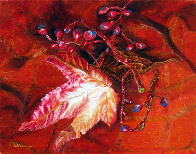 Poster featuring the painting Fall Leaf And Berries by LaVonne Hand