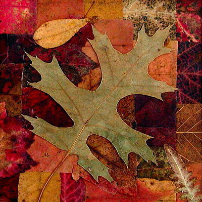 Poster featuring the mixed media Fall Leaf Collage by Anna Ruzsan