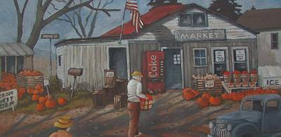 Poster featuring the painting Fall Market by Tony Caviston