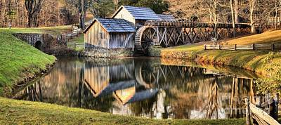 Fall Reflections At Mabry Mill Poster