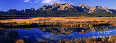 Poster featuring the photograph Fall Reflections Sawtooth Mountains Idaho by Dave Welling