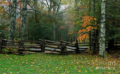 Fall Split Rail Fence Scenic Poster