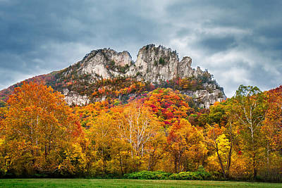 Fall Storm Seneca Rocks Poster by Mary Almond