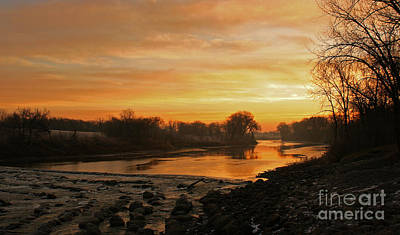 Poster featuring the photograph Fall Sunrise On The Red River by Steve Augustin