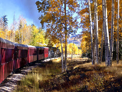 Fall Train Ride New Mexico Poster by Kurt Van Wagner