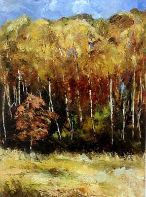 Poster featuring the painting Fall Trees Three by Lindsay Frost