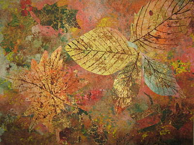 Poster featuring the painting Fallen Leaves II by Ellen Levinson
