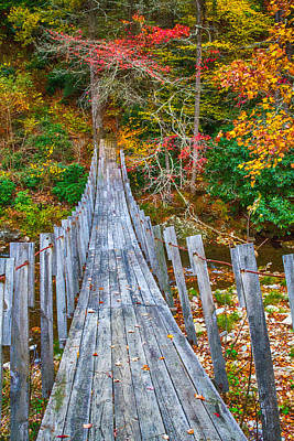 Falling Footsteps On A Wooden Bridge Poster