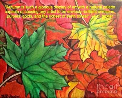 Falling Leaves 1 Painting With Quote Poster by Kimberlee Baxter