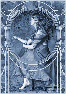 Falling Leaves Cyanotype Poster by John Edwards