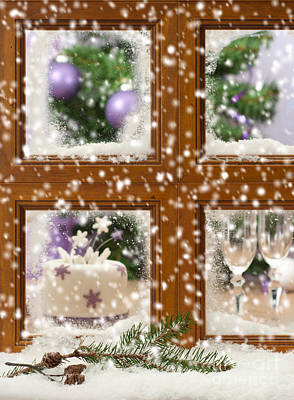 Falling Snow Window Poster by Amanda Elwell