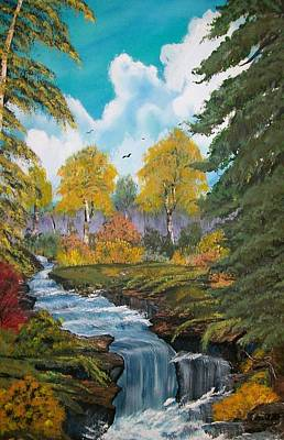 Poster featuring the painting Rushing Waters  Falls  by Sharon Duguay