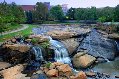 Falls Park Waterfall At Dawn In Downtown Greenville Sc Poster
