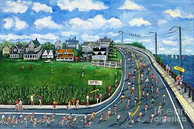 Poster featuring the painting Falmouth Road Race Running Falmouth by Rita Brown