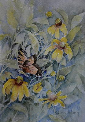 False Sunflower And Butterfly Poster