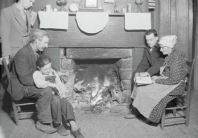 Family By Fireplace At Their Home Poster