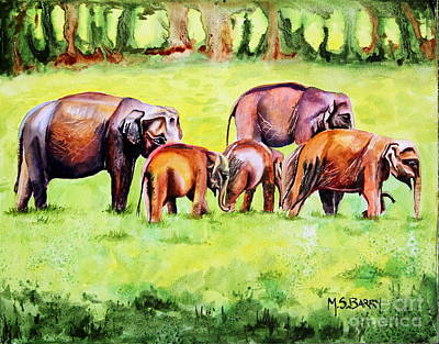 Poster featuring the painting Family Of Elephants by Maria Barry