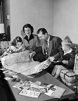 Family Plans A Vacation Poster by Underwood Archives