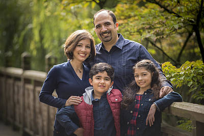 Family Portrait On Bridge - 1 Poster by Lori Grimmett