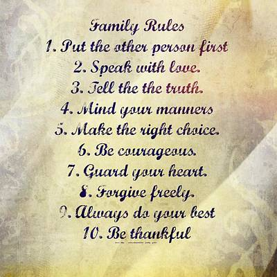 Family Rules Poster by Marty Koch