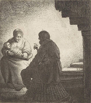 Family Sitting At A Spiral Staircase Poster by Jan Gillisz. Van Vliet