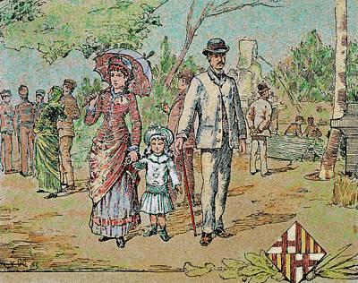 Family Walking Barcelona, Catalonia Poster