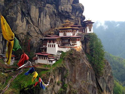 Famous Tigers Nest Monastery Of Bhutan 10 Poster