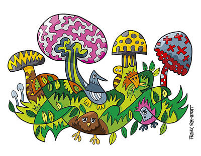 Fanciful Mushroom Nature Doodle Poster by Frank Ramspott
