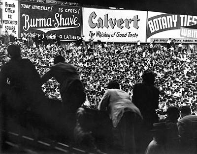 Fans In The Bleachers During A Baseball Game At Yankee Stadium Poster by Underwood Archives