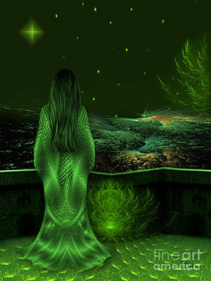 Fantasy Art - Wishing Upon A Star In A Green Night  By Rgiada  Poster