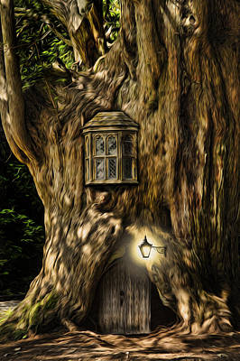 Fantasy Fairytale Tree House Digital Painting Poster by Matthew Gibson