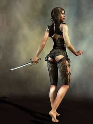 Poster featuring the digital art Fantasy Female Assassin by Kaylee Mason