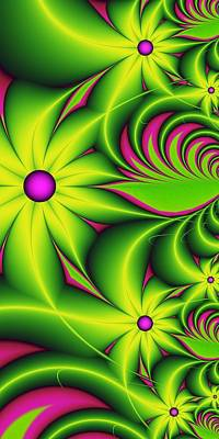 Poster featuring the digital art Fantasy Flowers by Gabiw Art