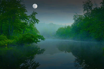Fantasy Moon Over Misty Lake Poster