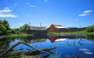 Farm Buildings And Pond. Poster