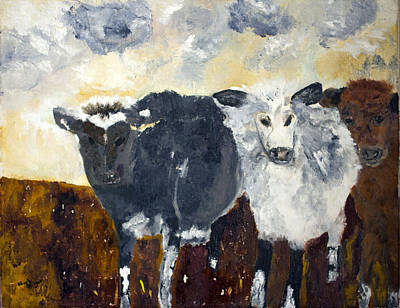 Poster featuring the painting Farm Cows by Aleezah Selinger