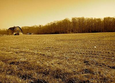 Poster featuring the photograph Farm Field With Old Barn In Sepia by Amazing Photographs AKA Christian Wilson
