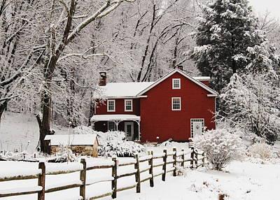 Farm House In Freshly Fallen Snow Poster by Stephen Hobbs