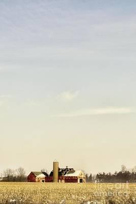 Farm In Winter Field Poster by Margie Hurwich
