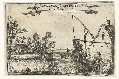 Farm Near A Channel, Esaias Van De Velde Poster by Esaias Van De Velde